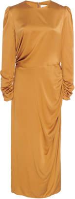 Zimmermann Exclusive Ruched Silk Midi Dress