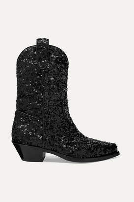 Dolce & Gabbana Sequined Leather Ankle Boots - Black