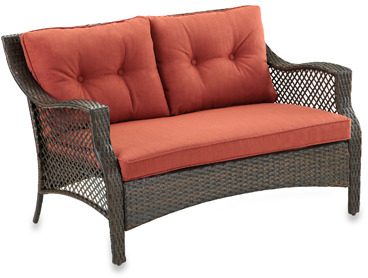 Bed Bath & Beyond Wicker Deep Seating Outdoor Loveseat with Cinnamon Cushion