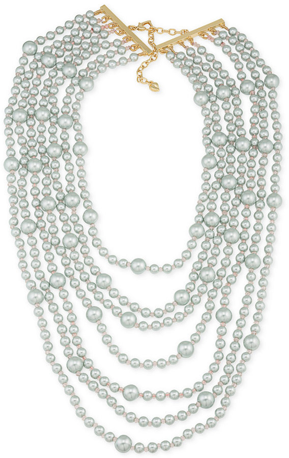 Carolee Carolee Gold-Tone Gray Imitation Pearl Multi-Row Necklace
