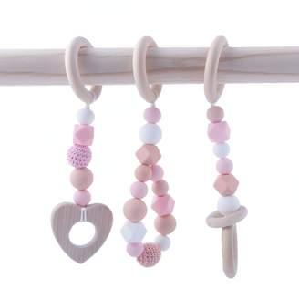 HAO JIE Baby Teether Soothing Teething Crochet Beads Crib Toy Accessories Sensory Teething Jewelry Nurse Charms - Pink