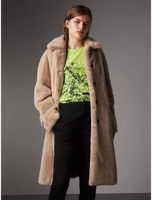 Burberry Faux Fur Single-breasted Car Coat