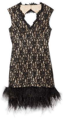 Vince Camuto Lace Feather-hem Dress