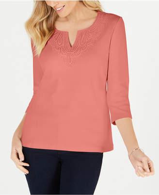 Karen Scott Cotton Crochet-Trim T-Shirt