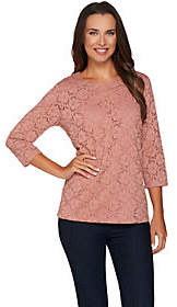 Denim & Co. 3/4 Sleeve Round Neck Lace Top withJersey Tank