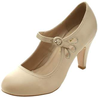 312d8473f5b Chase   Chloe Kimmy-21 Women s Round Toe Pierced Mid Heel Mary Jane Style  Dress