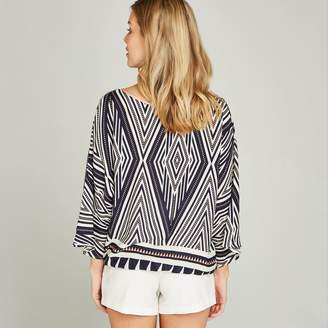 Apricot Navy Tribal Triangle Cross Over Top