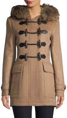 Burberry Women's Detachable Fur Trim Wool Duffle Coat
