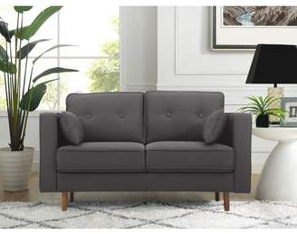 Mid-Century MODERN Lifestyle Solutions Tanany Design Upholstery Fabric Loveseat, Heather Grey