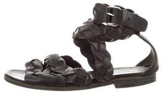 Balenciaga Braided Leather Ankle Strap Sandals