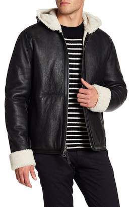 Vince Leather Genuine Shearling Lined Hooded Jacket