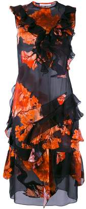 Givenchy ruffle trim printed dress