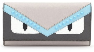 Women's Fendi Monster Leather Continental Wallet - Grey $600 thestylecure.com