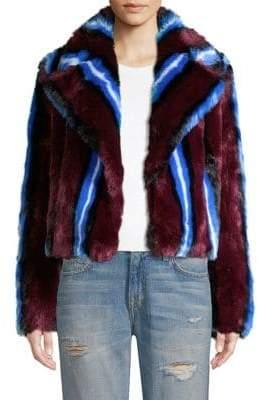 Diane von Furstenberg Stripe Faux-Fur Chubby Coat