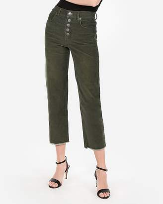 Express High Waisted Button Fly Corduroy Cropped Pant