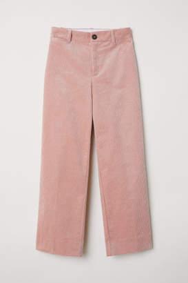 H&M Wide-leg Corduroy Pants - Orange