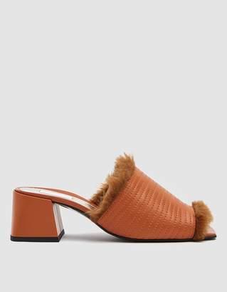 Suzanne Rae Fur Lined Heeled Sandal in Pumpkin