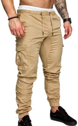 Sopliagon Mens Multi Pockets Drawstring Skinny Casual Tall and Big Cargo Pants M