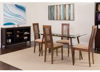 Flash Furniture Willows 5 Piece Walnut Wood Dining Table Set with Glass Top and Framed Rail Back Design Wood Dining Chairs - Padded Seats