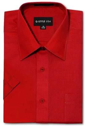 G-Style USA Men's Regular Fit Short Sleeve Solid Color Dress Shirts - S/14-14.5