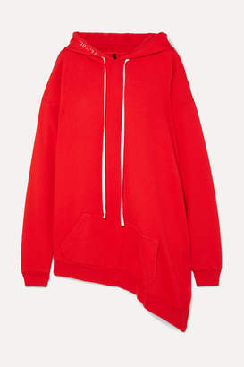 Unravel Project Asymmetric Cotton-terry Hoodie - Red