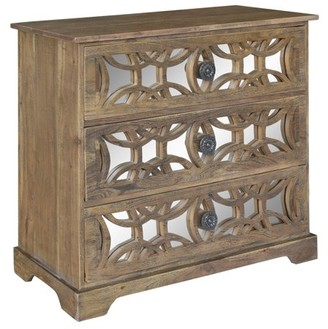 Crestview Collection Bengal Manor Dark Mango Wood 3 Drawer Fretwork and Metal chest