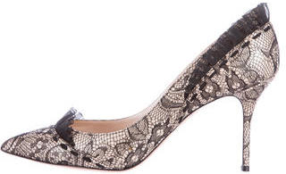 Casadei Pointed-Toe Lace Pumps $155 thestylecure.com