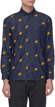 Hunting World Elephant embroidered chambray shirt