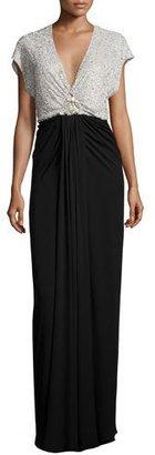 Jenny Packham Cap-Sleeve Embellished-Bodice Gown, Parchment/Black $3,600 thestylecure.com