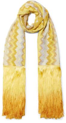 Missoni Fringed Metallic Crochet-knit Scarf - Yellow