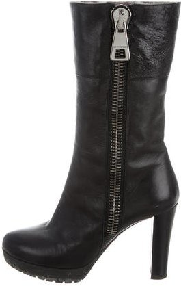 Emporio Armani Shearling-Lined Mid-Calf Boots