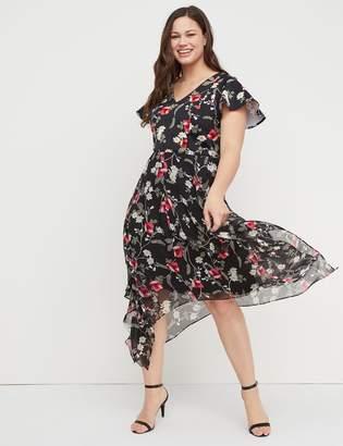 Lane Bryant Floral Scuba & Chiffon Midi Dress