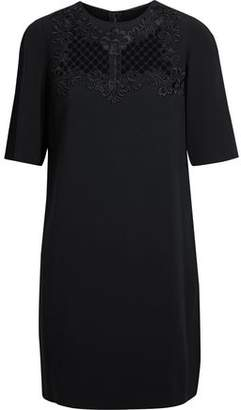 Dolce & Gabbana Mesh-Paneled Embroidered Crepe Mini Dress