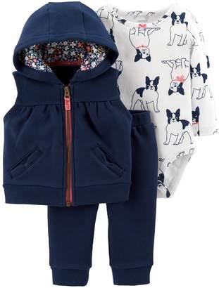 Carter's Baby Girl Hooded Vest Jacket, Dog Print Bodysuit & Pants Set