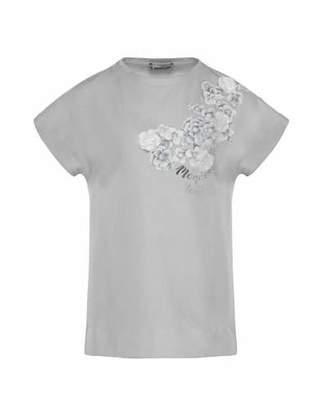 Moncler Maglia Flower & Logo Short-Sleeve T-Shirt, Size 8-14