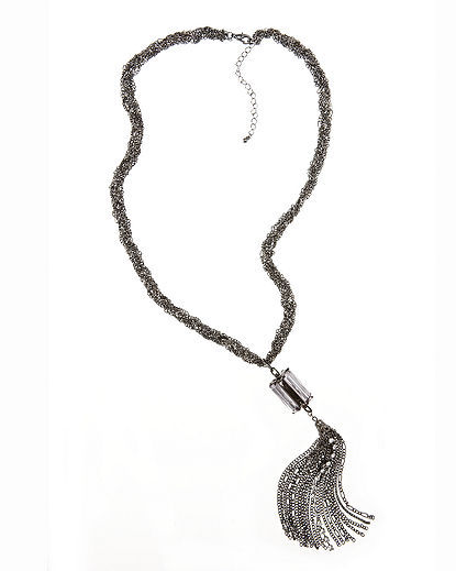 Newport News Stone & Tassel Necklace