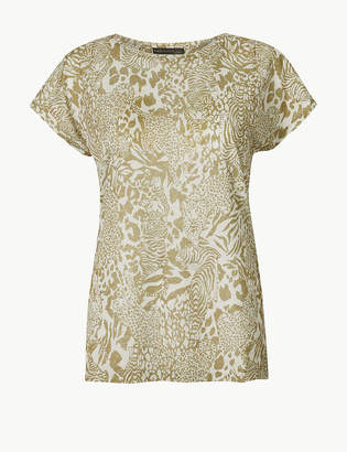 Marks and Spencer Animal Print Longline Relaxed Fit T-Shirt