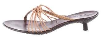 Robert Clergerie Embossed Leather Slide Sandals