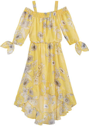 Sequin Hearts Floral-Print High-Low Hem Maxi Dress, Big Girls