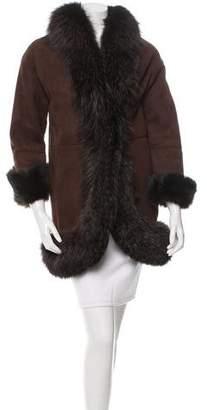 Prada Fox-Trimmed Shearling Coat