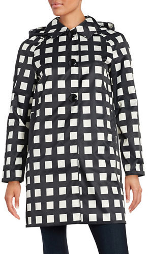 Kate Spade Kate Spade New York Checked Hooded Rain Coat