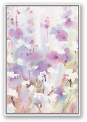 Wrought Studio 'Lavender Floral' Framed Watercolor Painting Print on Canvas