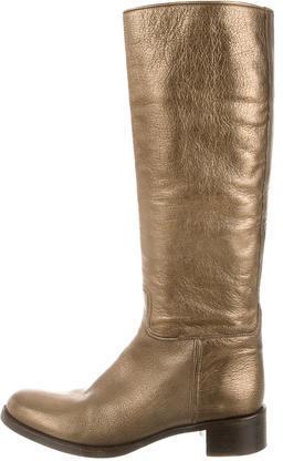 pradaPrada Metallic Knee-High Boots