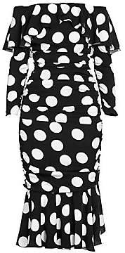 Dolce & Gabbana Women's Stretch Silk Polka-Dot Midi Trumpet Dress