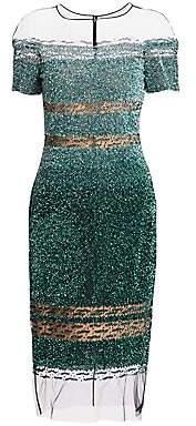 Pamella Roland Women's Beaded Illusion Dress