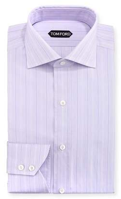 Tom Ford Wide Track-Stripe Cotton Dress Shirt, Lavender