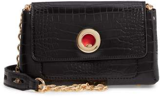 Sondra Roberts Croc Embossed Faux Leather Crossbody Bag
