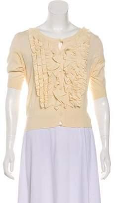 Prada Ruffled Short Sleeve Cardigan