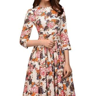 AMSKY Dress for Women Long Sleeve,Womens Floral Print Thin Vintage Casual Work Office A Line Knee Length Dress,Cell Phone Accessories