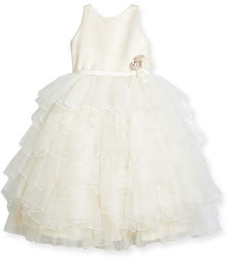 Joan Calabrese Satin & Tiered Tulle Special Occasion Dress, Ivory, Size 2-10